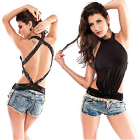 Free Shipping T012 Cheap Sale New Fashion 2013 Top Stand Collar Black Sexy T-Shirt For Women