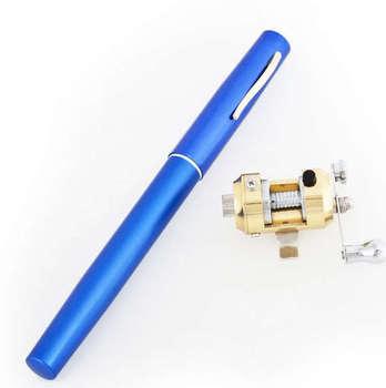 Mini Portable Pocket Pen Shape Aluminum Alloy Fish Fishing Rod Pole + Spin Reel