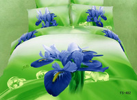 Blue Orchid green Background bedding set queen size 4pcs floral pattern comforter set duvet cover bed sheet set home textile