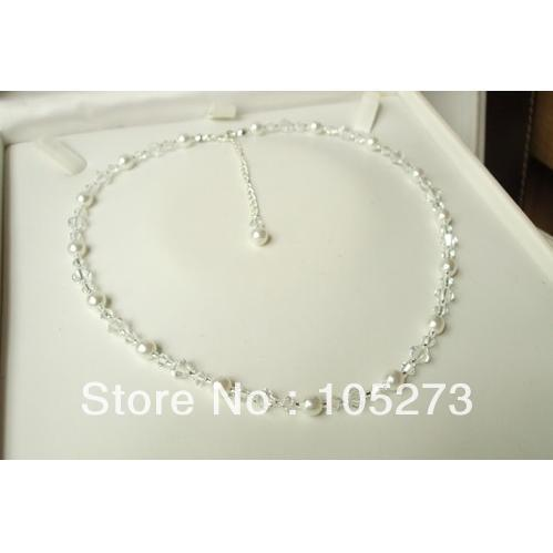 Wholesale Handmade Designer Clear Of AB Crystal And White Of Cream Pearl Bridal Necklace 18-20'' 4-9MM New Free Shipping(China (Mainland))