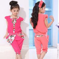 Children's clothing female child summer set patchwork vintage shorts short-sleeve capris set