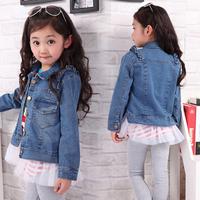 Children's clothing female child 2013 spring child long-sleeve denim outerwear fashion laciness jacket denim outerwear