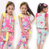 2014 girls summer set fashion 100%  cotton sleeveless capris set