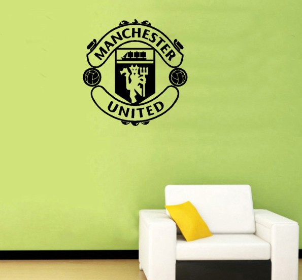 Free Shipping--M.U Vinyl Removable Wall Art Decor Decal Sticker Mural Football Club Stickers(China (Mainland))