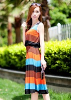 2013 summer fashion vest full dress beach dress stripe sleeveless one-piece rianbow dress  4 colors large in stock