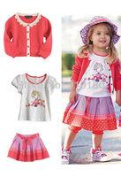 Free shipping 5sets/lot baby gilrs clothing set Watermelon red cardigan+cotton t-shirt+dots skirt Girl skirt 3pcs set