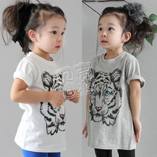 Free ship!2013 summer kids wear/ cute tiger models girl children's clothing baby short-sleeved T-shirt
