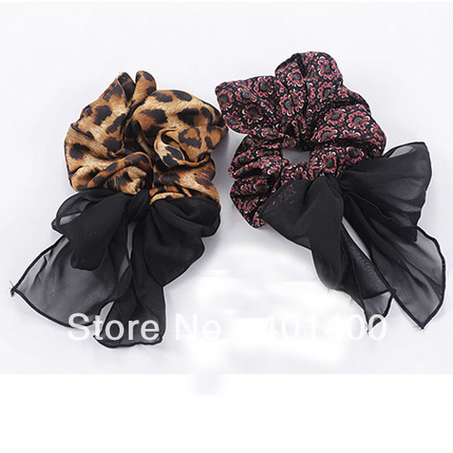 New Fashion Leopard Chiffon Scrunchies Hair Holder With Tail Bow Ladies Hair Ormaments 12pcs/lot Free Shipping Many Countries(China (Mainland))