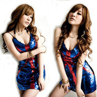 Free shipping Sexy spaghetti strap national flag nobody paillette vest top ds costume costumes dance clothes female