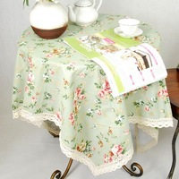 pastoralism printed floweres beautiful cotton and linen tablecloth   140cm*140cm  ZD0181