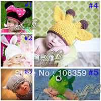 Baby Beanies Kids Crochet Hat Handmade Knitted Toddler Animal Cap Pattern Lovely Children Hat 10pcs SG022