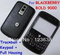 20pcs/lot,9000 New Full faceplates mobile phone housing cover case + keypad for blackberry cell phone,white black