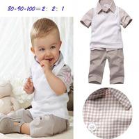 wholesale 5sets/lot 2013 summer new fashion baby boy plaid t-shirt+vest+pants 3pcs clothing suits set