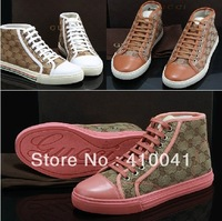 2013 Brand GG Men's outdoor lace-up high top shoe leather Demin Kitten Heel fashion Martin boots,Wear-resisting rubber sole40-47