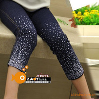 free shipping 2013 legging female child sparkling diamond faux denim legging pants capris knee-length ankle length trousers
