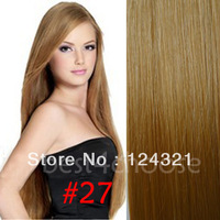 "Free Shipping #27 Golden Blonde Clip In Remy 100% Human Hair Extensions 18"" 20"" 22"" 7Pieces DIY Full Head Straight Best Price"
