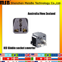 Convert  10A 125V ABS material Aus to New Zealand plug adaptor for USA 500pcs/lot free shipping by Fedex