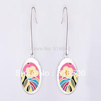 Free Shipping! Elegant Flower Silver Plated Enamel Jewelry Pendant Earring, 1 pair/pack