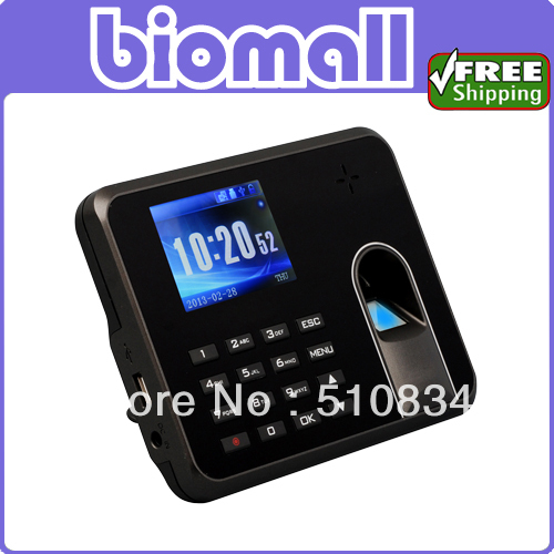 Desktop and Wall mounting Fingerprint Time Attendance TFT Screen No Need Software Self-service terminal with USB(China (Mainland))