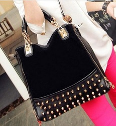 2013 new female bag rivet package stitching flannel bag shoulder bag fashion handbag Free Shipping Rivet Studded handbag(China (Mainland))