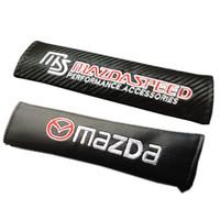 free shipping 20pcs Refires MAZDA leather logo ms mazdaspeed carbon fiber safety belt shoulder pad
