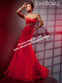 Beautiful Sweetheart Pleated 2013 Newest Crystal Belt  Mermaid Style Dress Evening Red GW589