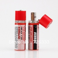 2pcs New USB AA 1450mAh 1.2V Ni-MH Rechargeable Battery red
