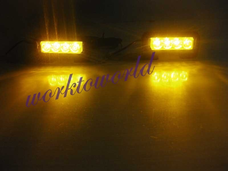 Led 2x4 Emergency Strobe Warning Flash High Power Light Bar Lamp 8Leds Amber(China (Mainland))