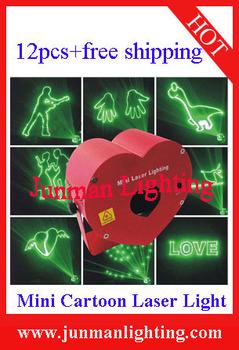 12pcs 80mw Green Cartoon Laser Light Laser Light Mini Laser Light Stage DJ Lighting Animation Laser Machine Free Shipping