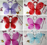 FREE SHIPPING,children fairy wing set(wing,headband,fairy wand)/Angel wing/Party accessories,8colours, 10sets/lot
