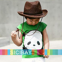 Summer new cotton Cartoon cute panda design Boys girls T shirts children clothes Baby tops kids t-shirt K0485