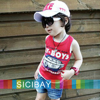 Summer new fashion Car design for Boys Vests t-shirt baby child sleeveless t shirts Kids Cool Wear  K0484