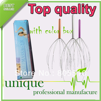 500pcs/lot THERAPEUTIC MASSAGER HEAD SCALP NECK MASSAGE HEADACHE STRESS RELIEF TENSION WITH COLOR BOX, Free shipping