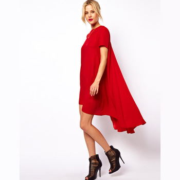 Womens cute loose chiffon dress with dovetail and swing trapeze hem decoration for freeshipping and wholesale