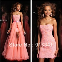 Perfect Combination Strapless Appliqued Short Prom Dress Long Skirt Removable 2013 New Arrival