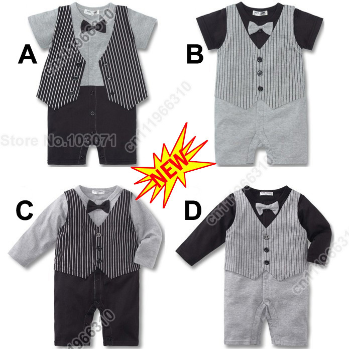 Cute Gentleman Baby Infant Kid Child Toddler Boy Grow Onesie Bodysuit Romper Jumpsuit Coverall Outfit One-Piece Jacket Costume(China (Mainland))