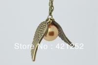 20pcs/lot  Harry Potter necklace pendant golden snitch Necklace golden    2013 new