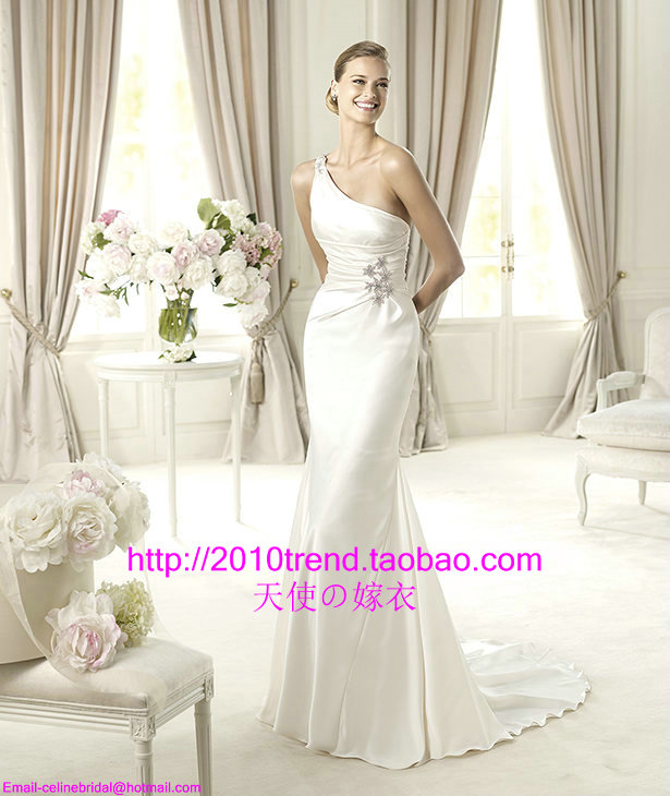 2013 one shoulder tail fish slim hip wedding dress wedding dress 295(China (Mainland))