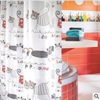 2014 new hot sale Terylene cloth 100% waterproof polyester shower curtain cartoon tape gutters bathroom curtain cat 180*200 cm