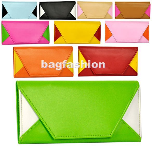 Korea leather Wallet Envelope Pocketbook clutch purse business card case Lady Men 10 Colors drop shipping [HFL211](China (Mainland))