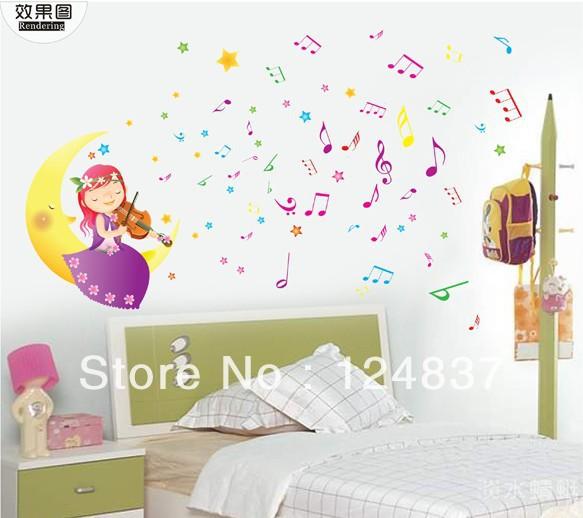 Online kopen wholesale muziek behang stickers uit china muziek behang stickers groothandel - Muur kamer meisje ...