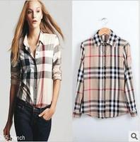 2013 Fashion shirt b Slim Women's Plaid Shirt Female Long-sleeve Shirt 2013 spring women's