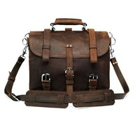 "7072R Crazy Horse Leather Men's Briefcase Backpack Dispatch Travel Bag Huge 16.5"" x 9"" x 12"""