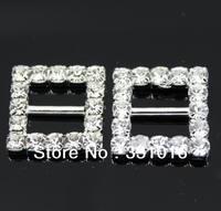 Free Shipping 100pcs 10mm Inner Bar Square Wedding Invitation Clear Rhinestone Buckle Diamante Ribbon Slider