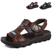 2012 cowhide calf skin children shoes child sandals male child summer big boy