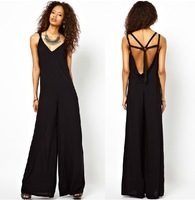 2013 Summer Fashion Plus Size Jumpsuits and Rompers for Women 5 cross backless black long Sexy jumpsuit Overalls Free Shipping