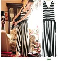 Fashion vintage black and white stripe vest jumpsuit wide leg pants casual loose slik A01211 summer women new designer rompers