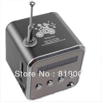 Black Micro USB Mini Speaker Music Player Portable FM Radio Stereo PC Mp3 Free Shipping 750095