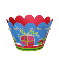 Freeshipping Moq 60pcs 12pcs/pack 4C Printed Christmas Cupcake Wrapper from Red Leaves