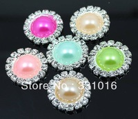 Free Shipping 100pcs Mixed Color DIA 19mm Round Rhinestone & Pearl Buttons Wedding Embellishment Buckle, Ribbon Slider